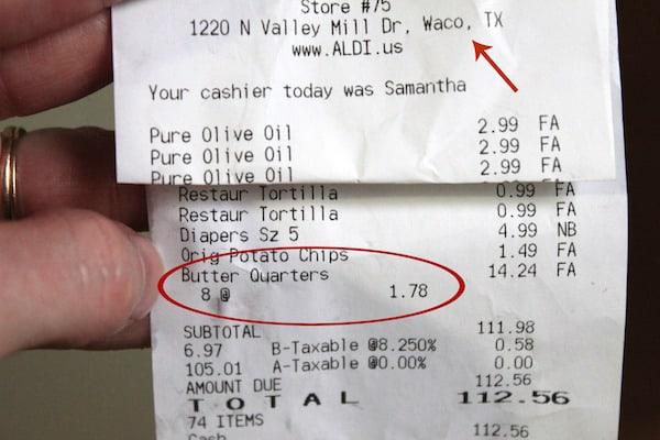 $20 a week grocery list - butter