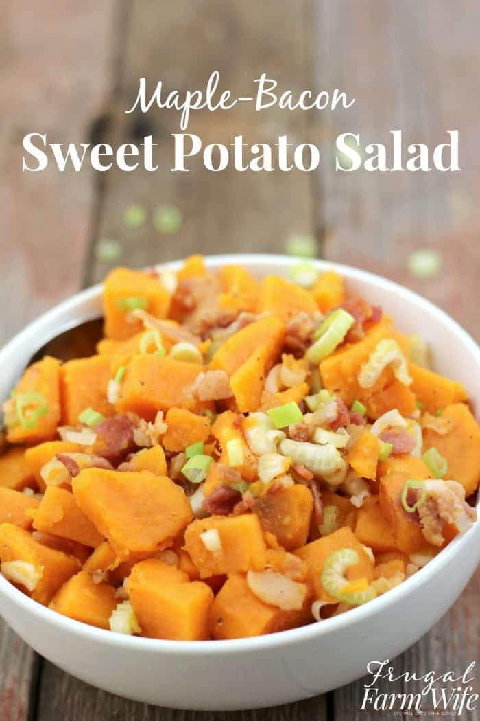 This sweet potato salad combines maple syrup and bacon with sweet potatoes for fun and delicious twist on America's favorite summer barbecue side dish!